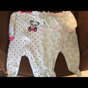 Other - Lot of 2 Baby Girl Footie Sleepers Size 6 Months